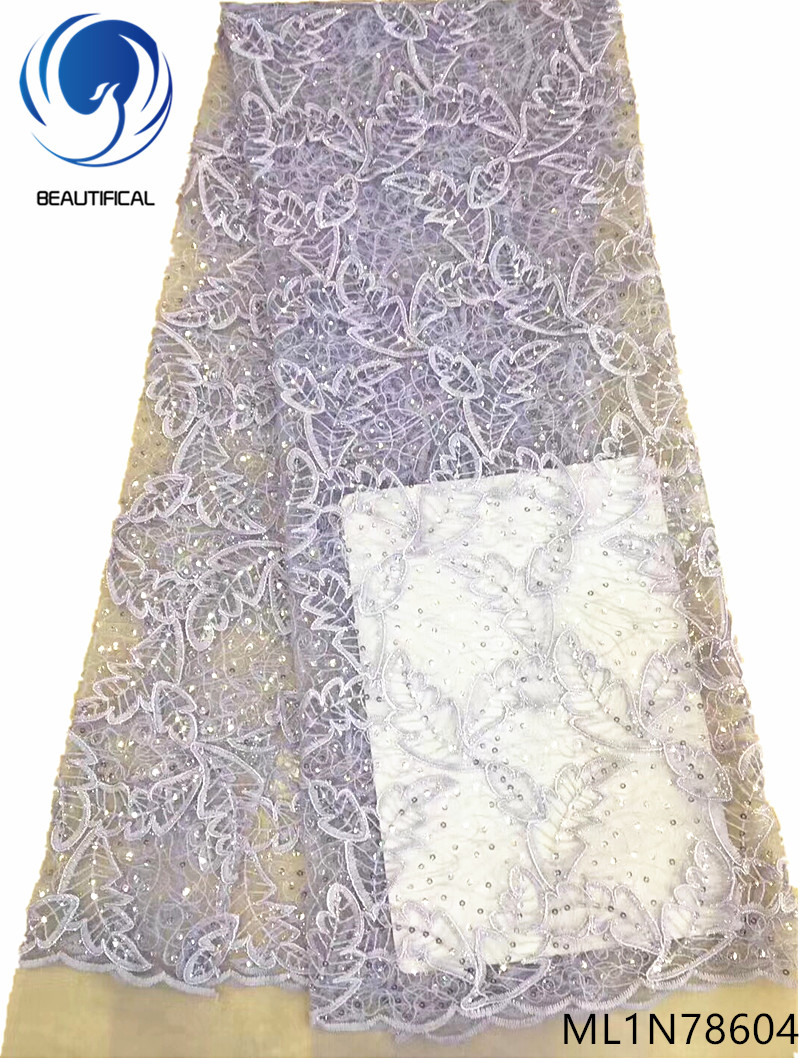 Beautifical 2019 glitter sequin lace african sequins lace fabric wedding lace fabric latest african design cheap online ML1N786 in Lace from Home Garden