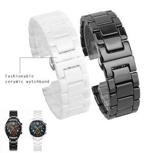 Image 1 - 12/14/16/18/20/22mm Shine voor Samsung Gear S2/S3 Horlogeband kwaliteit Keramische Horloge Band Luxe Metalen Armband voor Huawei Horloge 2