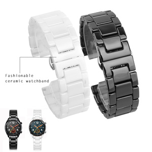 Image 1 - Ремешок для часов Samsung Gear S2/S3, 12/14/16/18/20/22 мм, качественный керамический ремешок для часов, роскошный металлический браслет для Huawei Watch 2