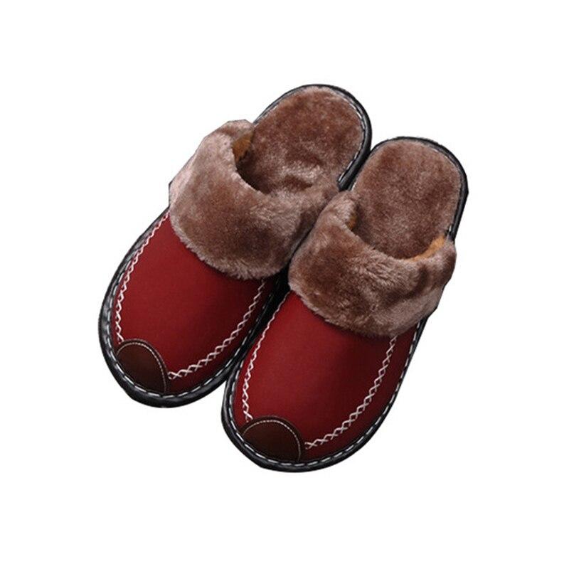 100% Wahr Warme Baumwolle Schuhe Männer Der Winter Innen Dicken Sohlen Hause Haar Hausschuhe Männer Und Frauen Paare Hausschuhe Schuhe Pantuflas SchöNe Lustre