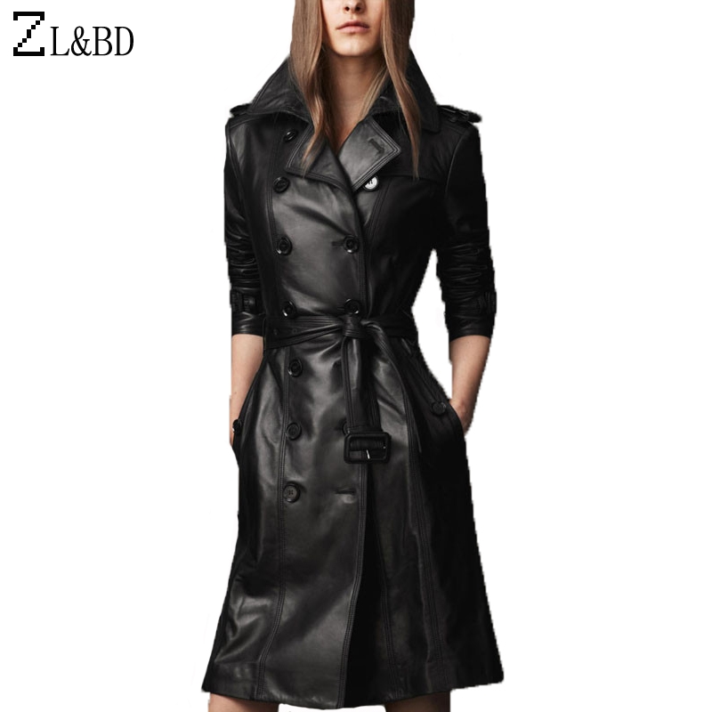 ZL&BD Plus Size 4XL Woman Long Trench Coat Autumn Winter Gothic Black Faux PU Trench Femme Slim Double Breasted Windbreak ZA122