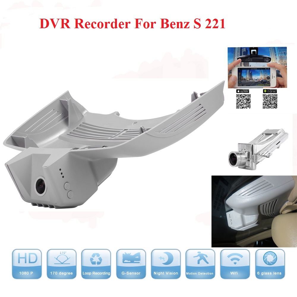 Wifi Car DVR For Benz S 221 1080P Full HD Dash Cam Video Recorder With Night Vision G-sensor With Aluminium Alloy Free Shipping