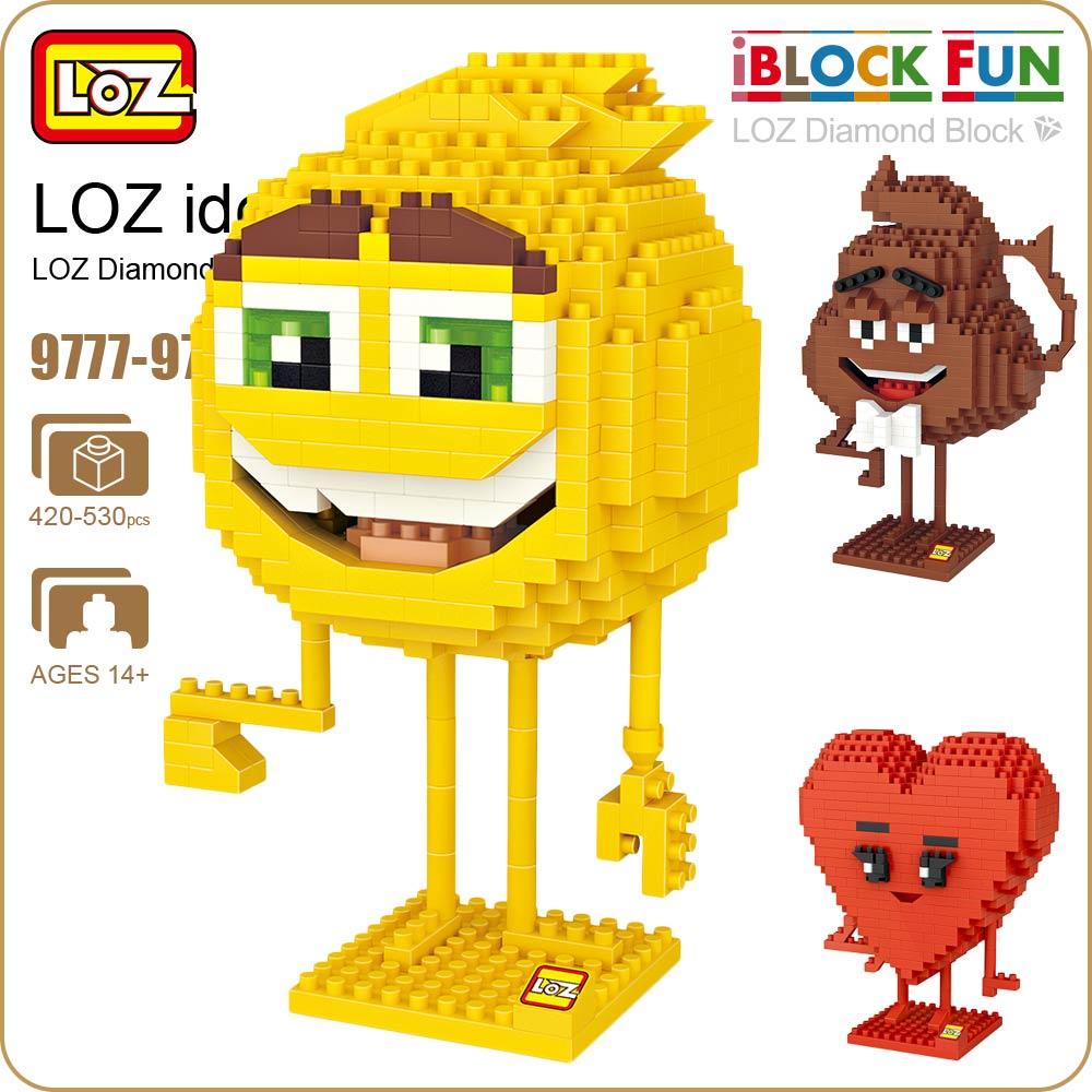LOZ Diamond Blocks Emoji Toys Building Blocks Figures Plastic Assembly Toys Educational Smile Expression Love Stool 9777-9779 cartoon movie zootopia loz mini diamond building block judy hopps rabbit figures police nanoblock model brick educational toys