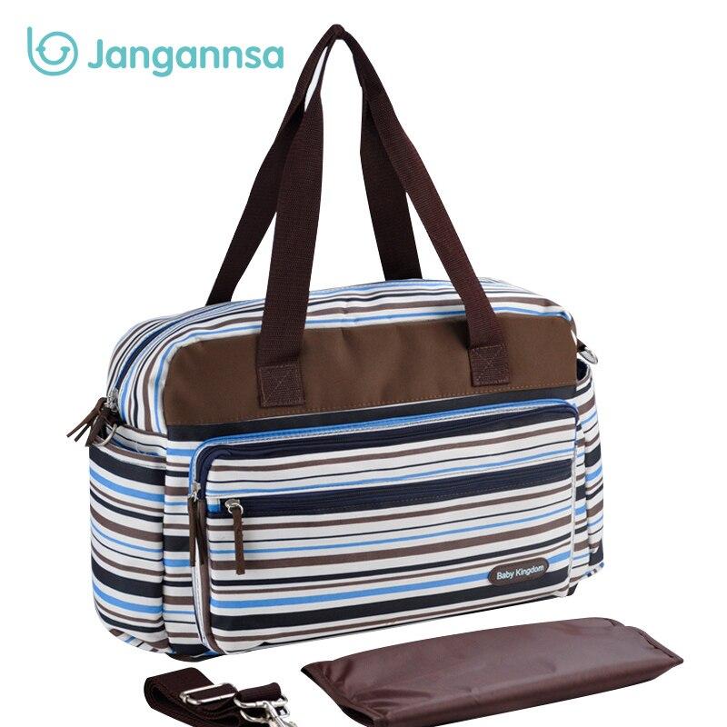 Striped Mummy Bag For Stroller Multifunction Nappy Tote Shoulder Bag Retro Baby Diaper Bag Large Capacity Fashion Mummy Handbag