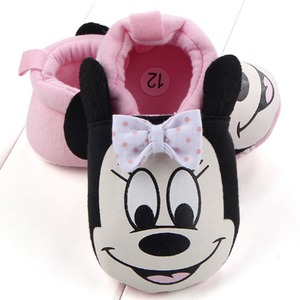 Nouveau-né confortable coton bébé garçons filles premiers marcheurs infantile mignon Minnie Mickey semelle souple bébé chaussures pantoufle berceau chaussures(China)