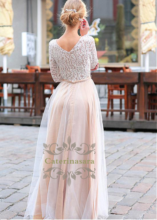 Scoop Neckline Lace Long Sleeves Formal Wedding Dresses Floor Length A Line Bride Gowns Girls Out Door Wedding Wear in Wedding Dresses from Weddings Events