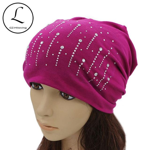 77032aaaf0 US $10.7 |GZHILOVINGL Rhinestone Beanie Women Summer Glitter Raindrop Solid  Color Skullies Slouchy Beanie Hats Bonnet Womens Cap Hat Gorro-in Skullies  ...
