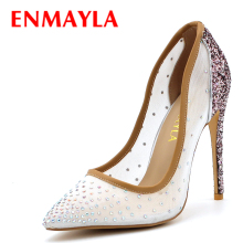 ENMAYLA 2017 Summer Crystal Shoes Woman High Heels Poined Toe Pumps Clear Shoes Women Plus Size 46 Wedding Party Ladies Shoes