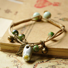 HOMOD Handmade vintage beads lady bracelet Bohemia Ceramic stone charm women Bangles fashion christmas gift free shipping(China)