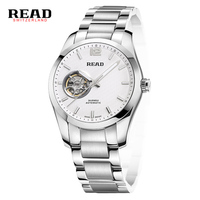 Mens Watches Automatic Mechanical Watch Skeleton Clock Leather Casual Business Wristwatch Relojes Hombre Top Brand READ
