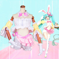 Anime Vocaloid Hatsune Miku Cosplay Rabbit Ear Spring Clothing Women Lovely Cosplay Costume B