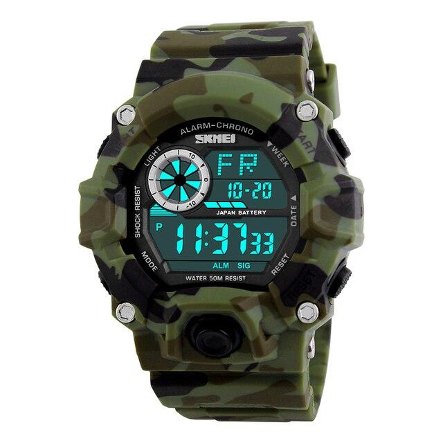 aad36ee342e SKMEI Camuflagem Do Exército militar led relógios de pulso relojes homens  digitais esportes relógios relogio masculino