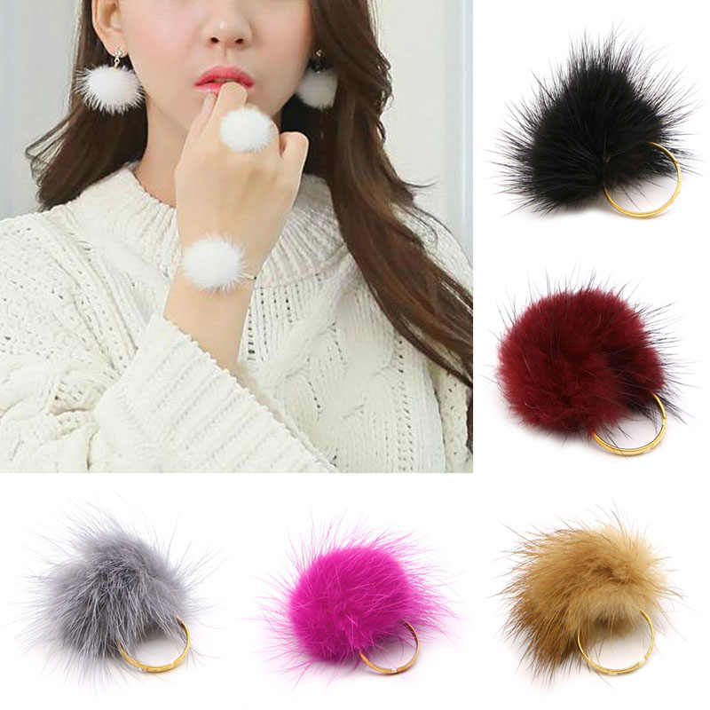 Trendy Jewelry Accessories Resizable Fluffy Pompom Ball Ring For Women Girl Gift