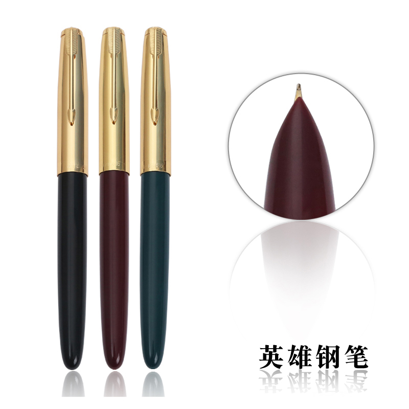 HERO 616 10pcs/lot Luxury Golden Cap Fountain Pens Nib 0.5mm Iridium for Financial Special Ink Pen and Students Supplies hero 1021 luxury black senior iridium fountain pen bent nib 0 5mm 8mm calligraphy pens for business gift office writing pen