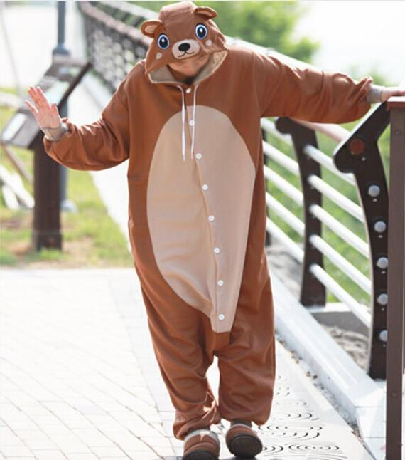 New Adult Animal brown  bear  Cosplay Pajamas Onesie Sleepwear Costume