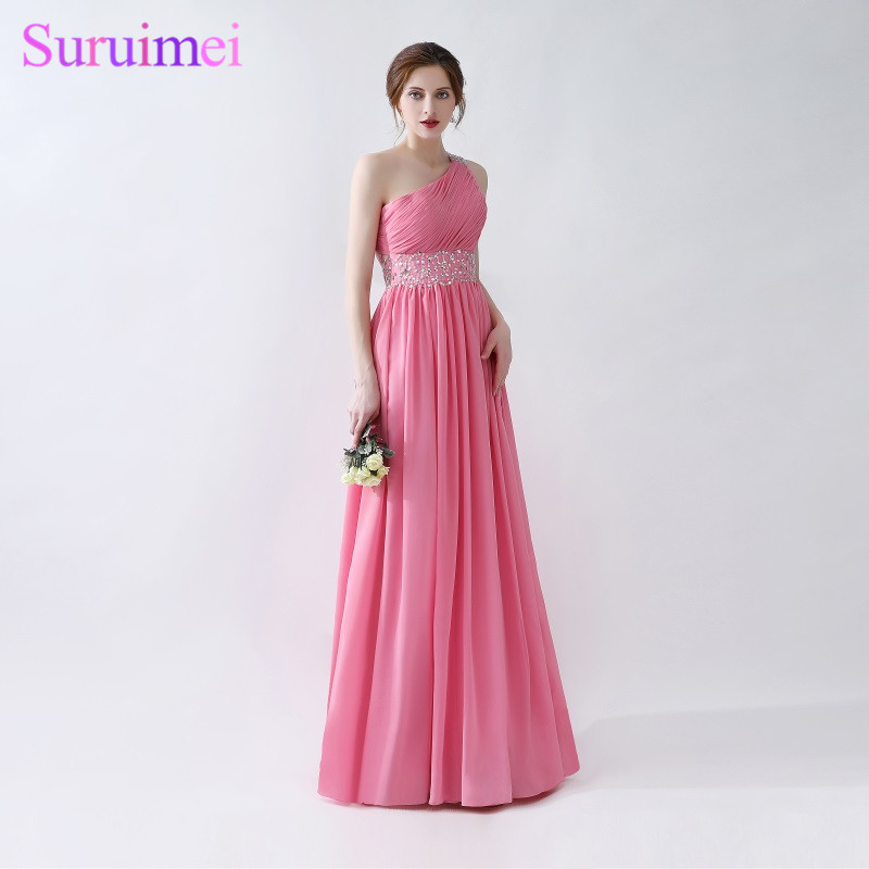 641ae98e32 US $87.0 40% OFF Coral Evening Dresses One Shoulder Floor Length Long  Chiffon Beaded Evening Gown Free Shipping Cheap On Sale-in Evening Dresses  from ...