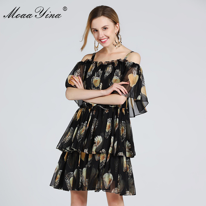 MoaaYina ファッションデザイナー滑走路ドレス夏の女性スパゲッティストラップのカスケードフリルビーチセクシーなシフォンドレス  グループ上の レディース衣服 からの ドレス の中 2