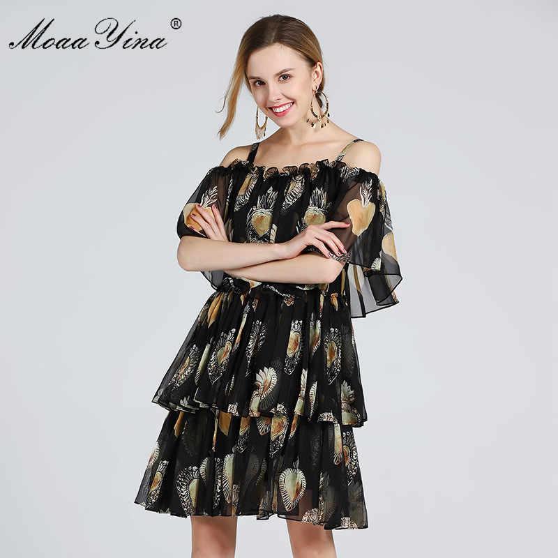 MoaaYina модное дизайнерское подиумное платье Летнее женское Спагетти ремень с плечом Каскадное гофрированное пляжное сексуальное шифоновое платье