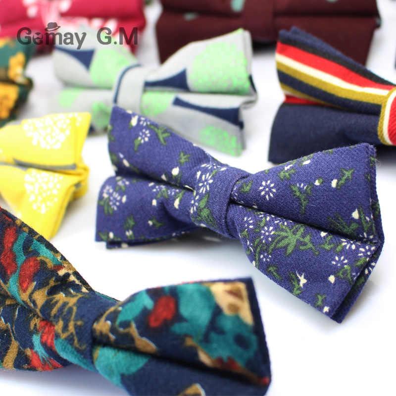 Merek Baru Mens Bowtie Slim Floral Skinny Katun dasi kupu-kupu Bunga Cravat Ties untuk Pria Klasik Partai Bisnis Kemeja Laki-laki dasi kupu-kupu