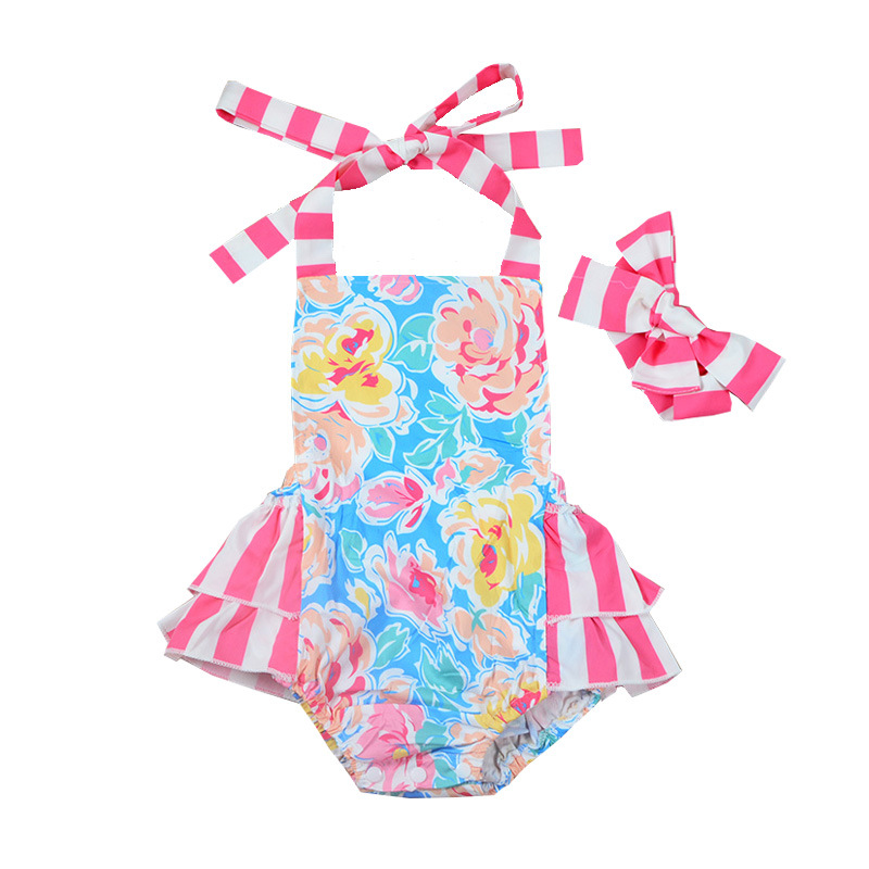 2018 Hot Sale Cute Pink Baby Girl Bodysuit With Headband Straped Baby Girl Floral Baby Sleeveless Onesie Summer Beachwear