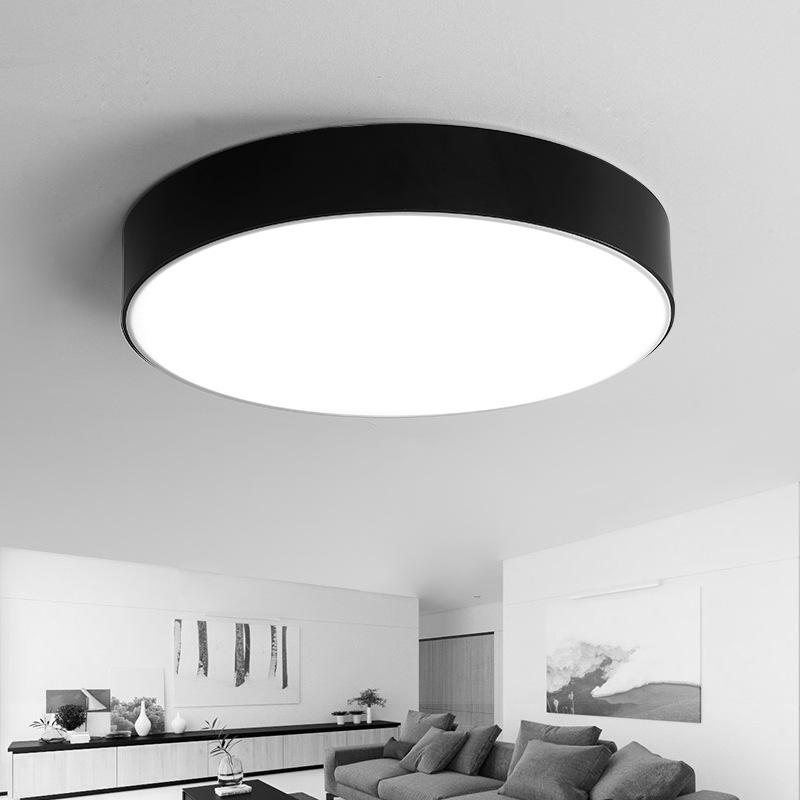 Modern Led Ceiling Light Black White Acrylic Round Led