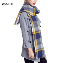 vancol 2016 new arrival plus size brand female plaid long shawl wrap tartan Winter scarves stoles plaid women cashmere scarf