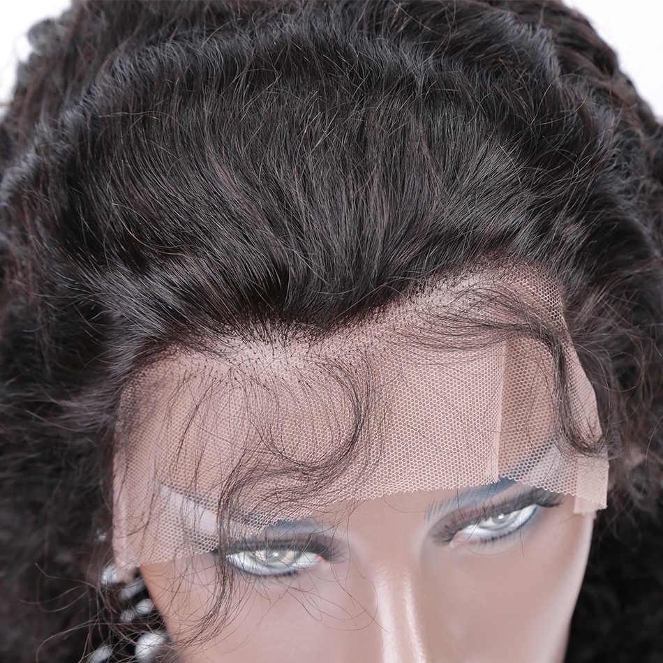 グルーレスレースフロントウィッグ人毛ウィッグ黒人女性ナチュラルヘアラインマレーシアカーリー完全なレース 360 フロントで髪