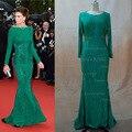 Inspirado por Cannes Claudia Galanti verde sirena Backless de la celebridad vestidos noche con mangas largas Real efectivo imagen 2015