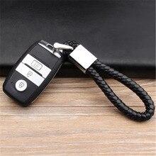 Business Keychain Braided Genuine Leather Zinc Alloy Car Key Ring For Kia Rio Sorento Cerato K3 K3S K4 K5 KX3 Sportage QL KX5
