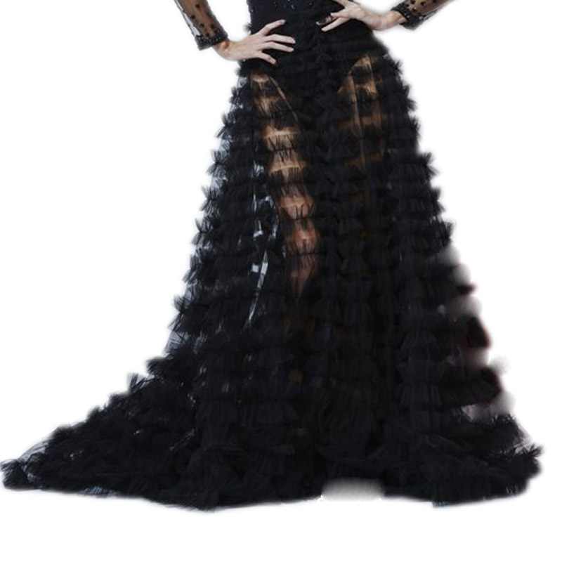 High End Fashion 2018 Tiered Ruched Long Tulle Skirts For Lady To Prom Party Black Sexy