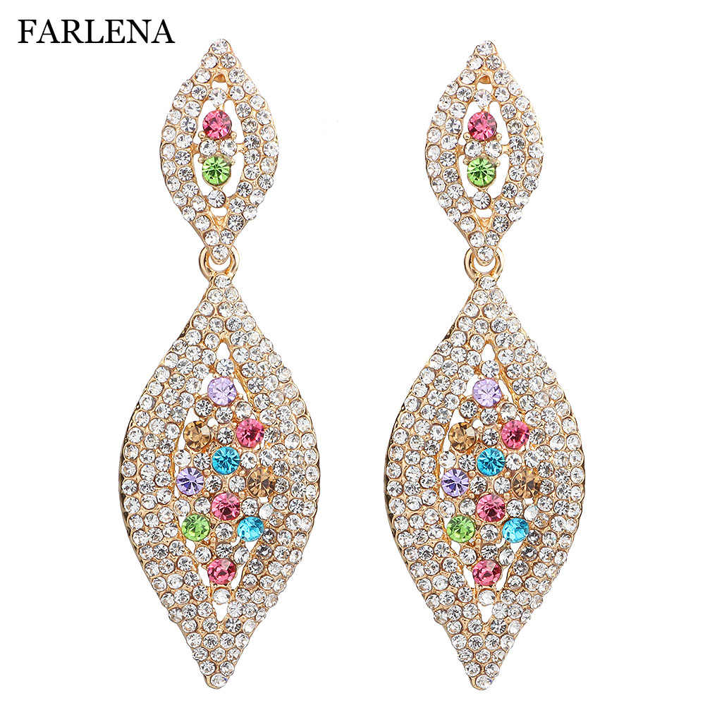 FARLENA Fashion Jewelry Silver Plated Leaf shaped Drop Earrings with crystal long wedding earrings