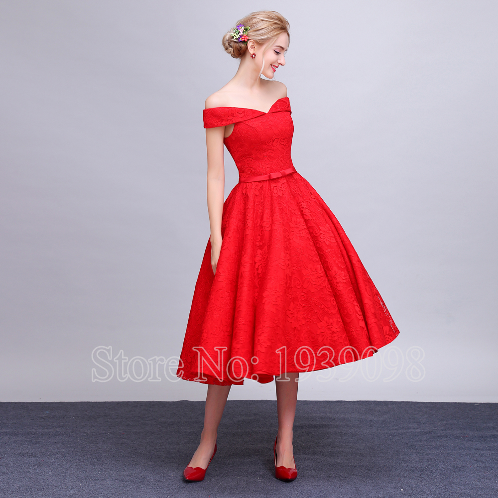 Red Short Wedding Dresses: Vintage Lace Red Wedding Dresses 2016 Off The Shoulder Tea