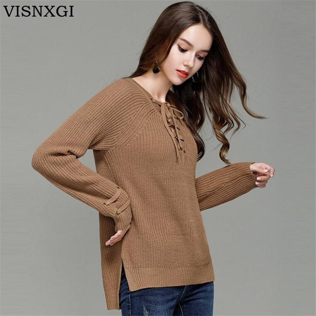 VISNXGI Women V Neck Knitted Lace-up Sweater Striped Bandage Cross Ties  Pullover Loose Casual Knitwear Jumper Top Sweter Mujer cf54bb7d3