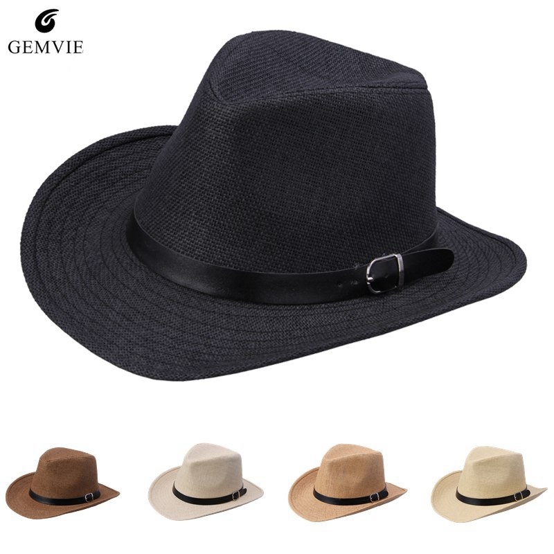 b2c14d62c1d0e Summer Straw Hat For Women Men Leather Belt Decor Unisex Sunhat Wide Brim  Cowboy Cap Jazz