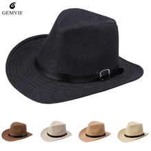 Chapéu de Palha Do verão Para Mulheres Dos Homens da Correia de Couro  Decoração Unisex Sunhat Aba Larga Cap Cowboy Jazz Cap Chap. 103352bdada