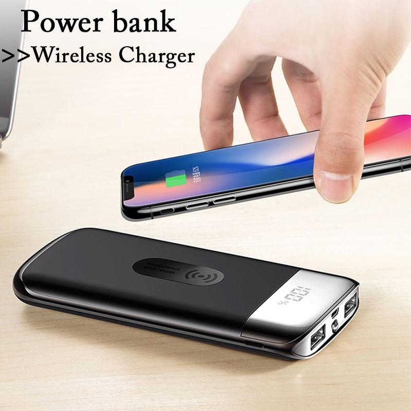 30000mahパワーバンク外部バッテリーバンク内蔵ワイヤレス充電器Powerbank iPhone XS Max 8 USBバッテリーバンク充電器用ポータブルQIワイヤレス充電器