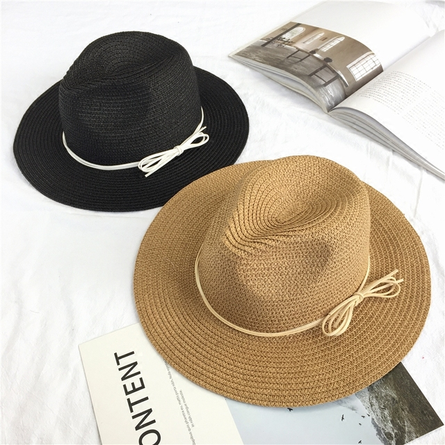 Summer travel shade bow straw hat Ladies beach sunscreen sun jazz hat  Simple wild 6b4a40749a5d