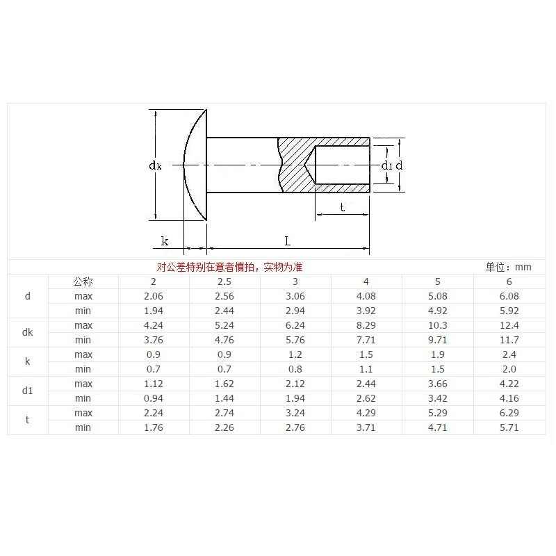304 stainless steel flat round head semi-tubular rivet M4M5M6*4 5 6 7 8 10 11 12 13 14 15 16 17 19 22 24 25 28 32 34 38 44 48 50