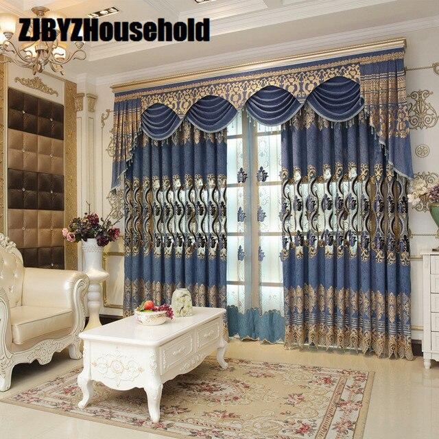 € 32.63 |Bordado tela de la cortina, elegante estilo europeo moderno piso  cortinas para vivir comedor dormitorio cenefa en Cortinas de Hogar y Jardín  ...