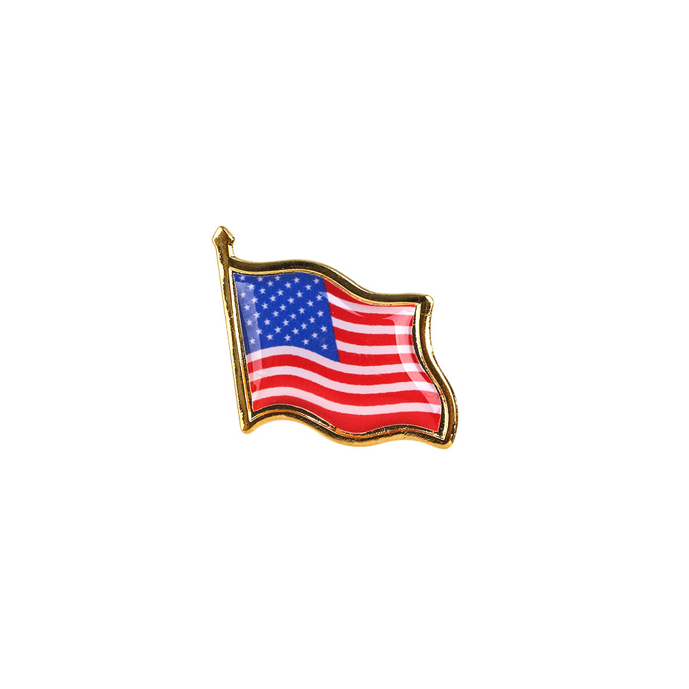10pcs lot national flag country flag stick flags flag of the united - 1pcs Metal American Flag Pin Creative Brooch Badge Pin Hat Tie Decoration China