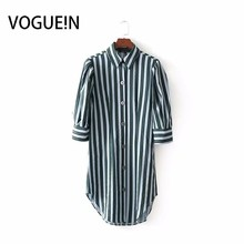 VOGUEIN New Womens White Green Striped Casual Long Blouse Tops Button Down  Shirt Wholesale 5eea2b07b00f
