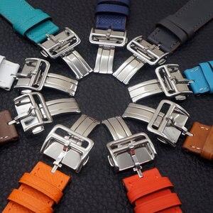Image 5 - שעון צמיד עבור אפל שעון Seires 4 5 40 44mm אמיתי עור רצועת עבור רם אפל שעון להקה סדרת 1 2 3 iWatch Watchbands