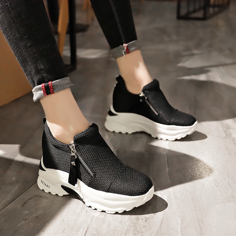 Lucyever 2019 New Spring Ladeis Casual Sneakers Women Height Increasing Vulcanized Shoes Woman Footwear Leisure Ankle Boots 11