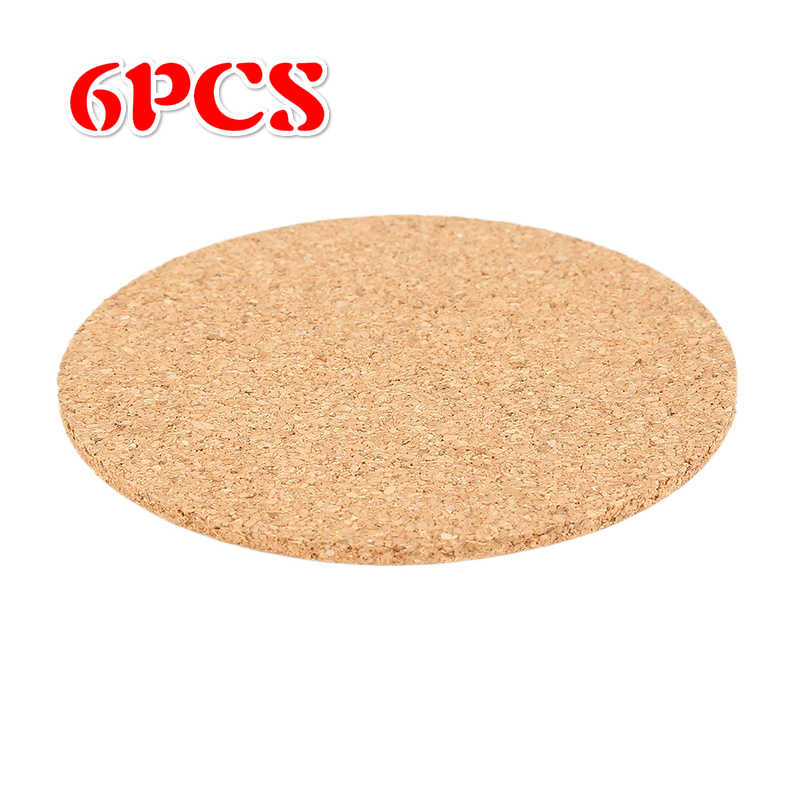 6pcs 9CM Drinks Coffee Tea Cup Coaster Wine Pad Table Mat Bowl Placemat for Dining Table Natural Cork Home Kitchen Accessories