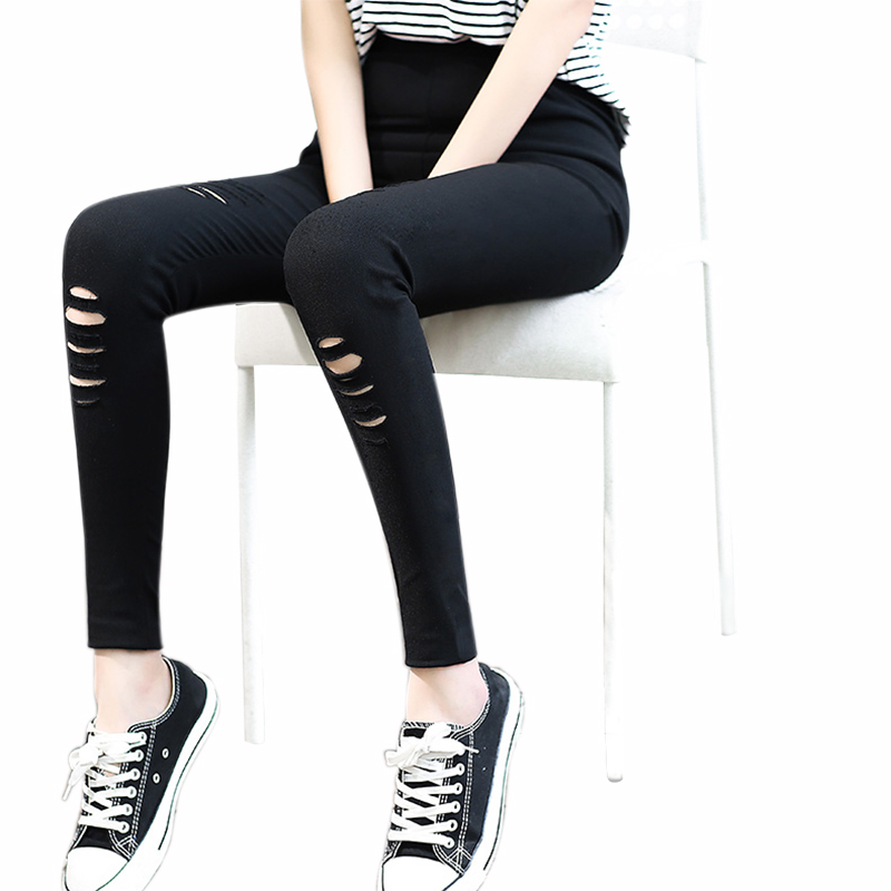 Skinny   Jeans   Women Denim Pants Summer Black Hole Ripped Pants Casual Stretch Trousers High Waist Destroyed Knee Pencil Pants