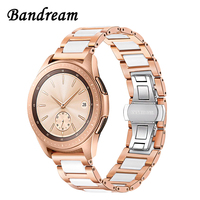 Women Stainless Steel & Ceramic Watchband 20mm for Samsung Galaxy Watch 42mm / Active / Gear S2 Classic Band Quick Release Strap
