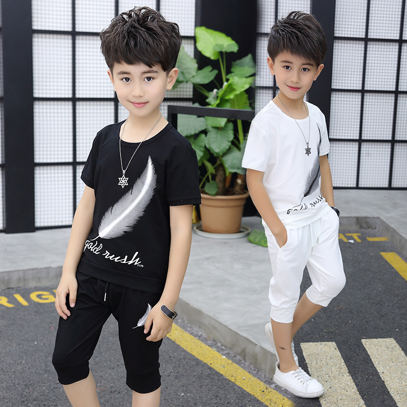 2018 Summer Boys Clothes Sets T Shirts + Cropped Pants Little Kids Teen Boys School Children Sport Wear Boys Clothing Sets 12 summer kids clothes sets boys girls short sleeve t shirts plaid shorts skirts children school uniform performance clothes