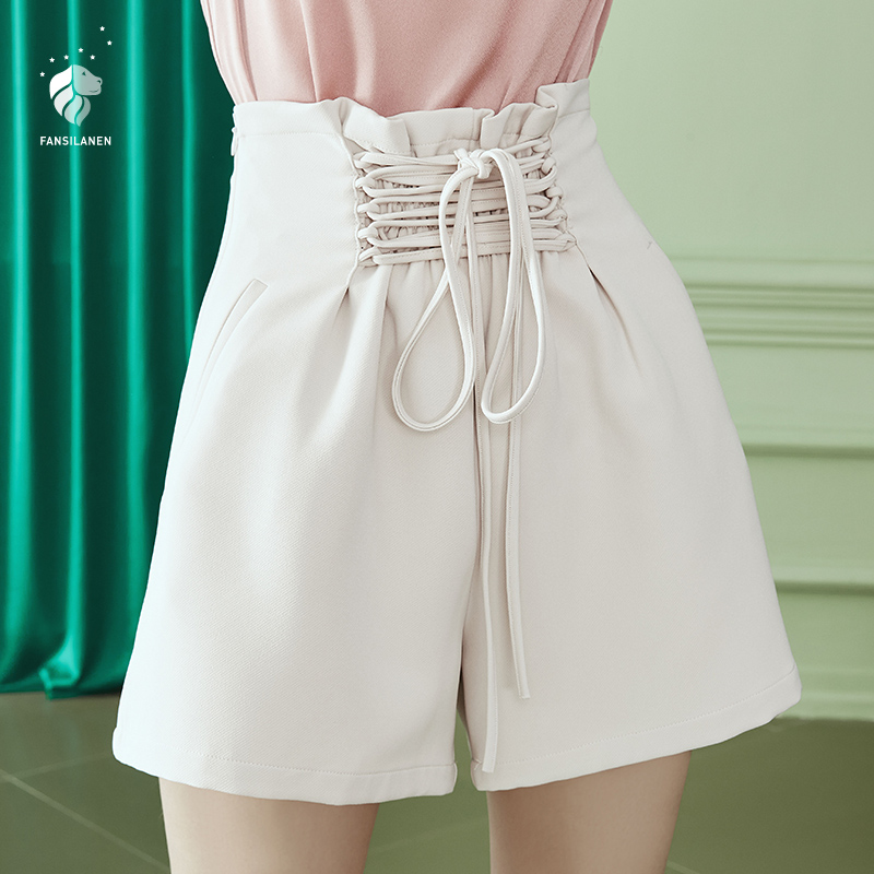 FANSILANEN 2019 New Arrival Fashion Solid Summer/Spring Vintage Casual Novelty Solid Women Chinese Style Shorts Z71363