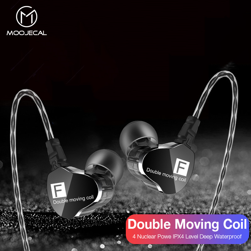 MOOJECAL Dual Drive Stereo earphone In-ear Headset Earbuds Bass Earphones For iPhone 6 huawei Xiaomi 3.5mm earphones With Mic стоимость