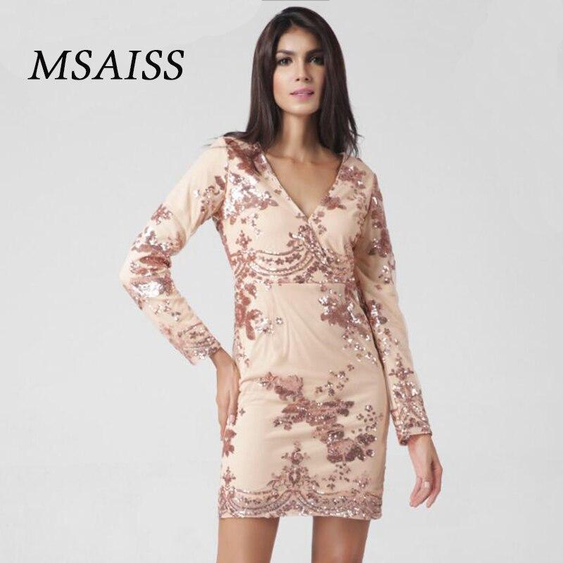 MSAISS 2017 New Womens Sequined Long Sleeved Dess In The Fall V-necked Sexy Vestido De Festa Black Women Dress
